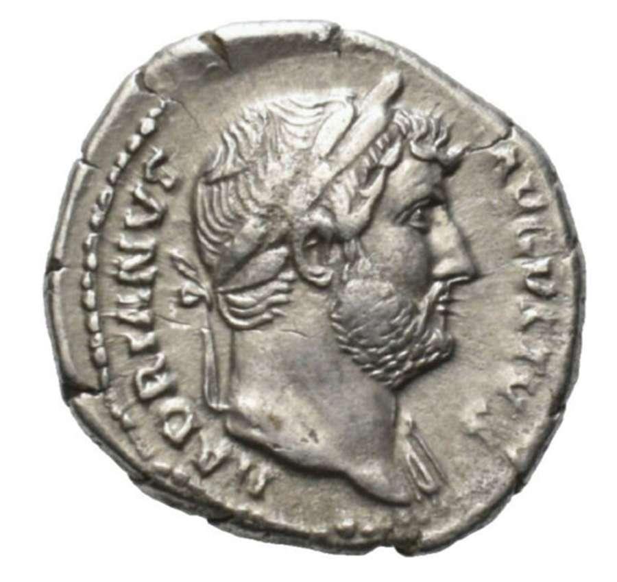 Ancient Roman Silver Denarius of Emperor Hadrian / Roma