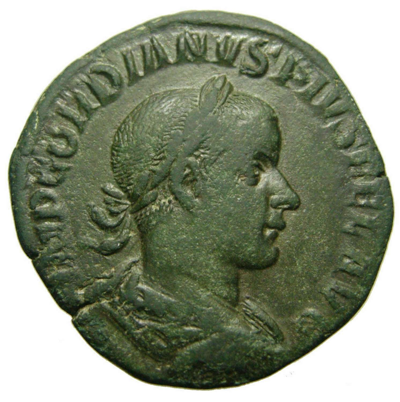 Ancient Roman Æ Sestertius of Emperor Gordian III / Jupiter