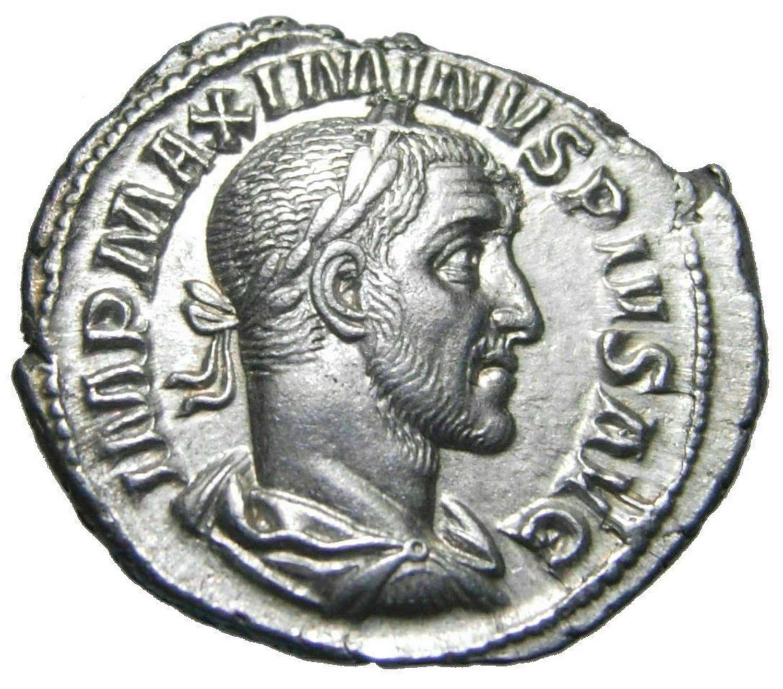 Ancient Roman Silver Denarius of Emperor Maximinus Thrax