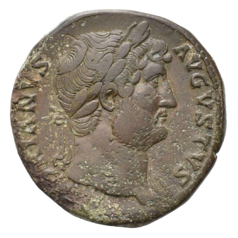 Ancient Roman AE Sestertius of Emperor Hadrian / Roma