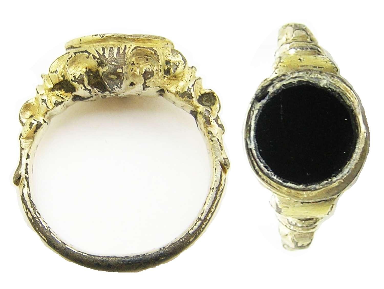 Tudor period Renaissance silver gilt finger ring