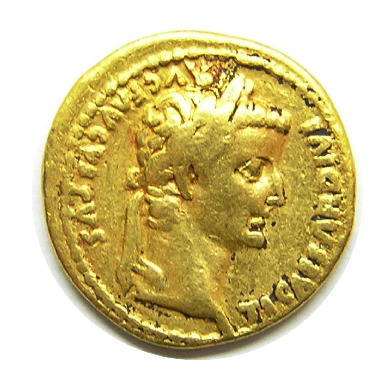 Ancient Roman gold Aureus of Tiberius Lugdunum mint