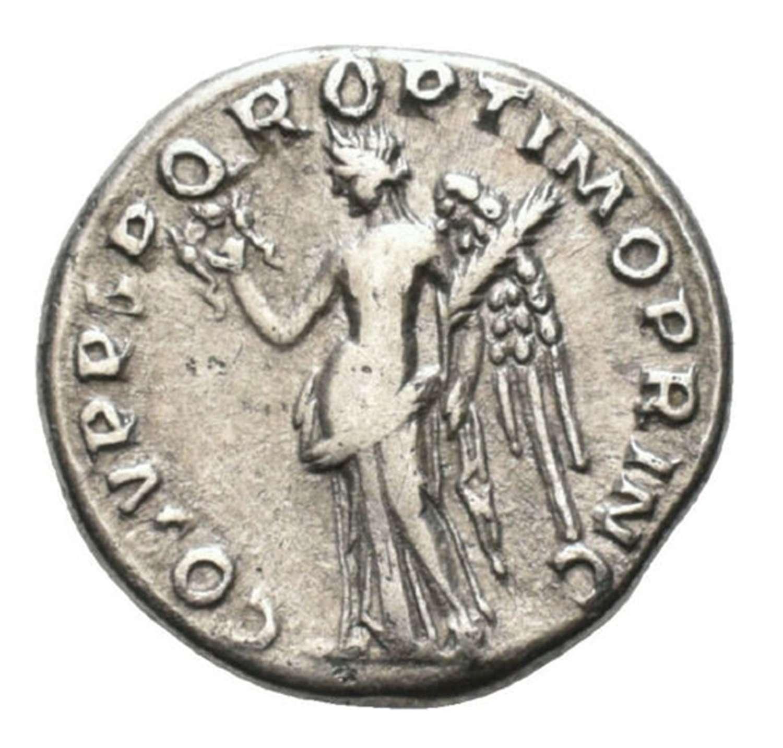 Ancient Roman Silver Denarius of Emperor Trajan / Victory