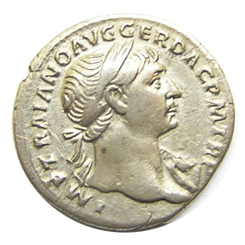 Ancient Roman Silver Denarius of Emperor Trajan / Aequitas