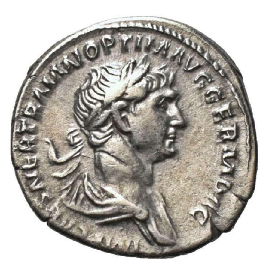Ancient Roman Silver Denarius of Emperor Trajan / Virtus