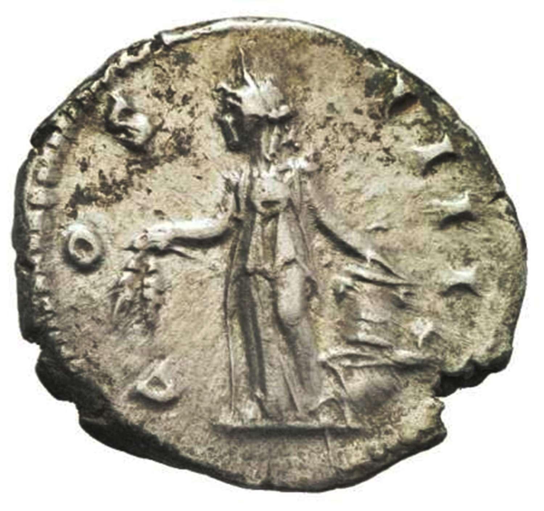 Ancient Roman Silver Denarius of Emperor Antoninus Pius / Anonna