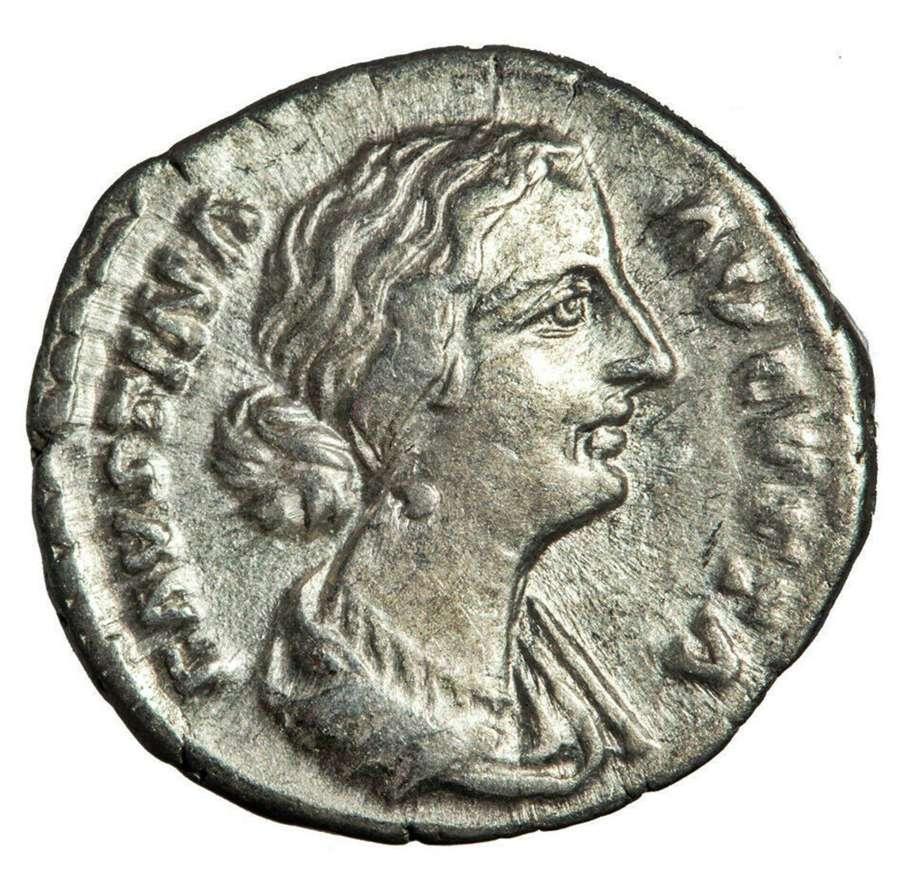 Ancient Roman silver denarius of empress Faustina II / Juno