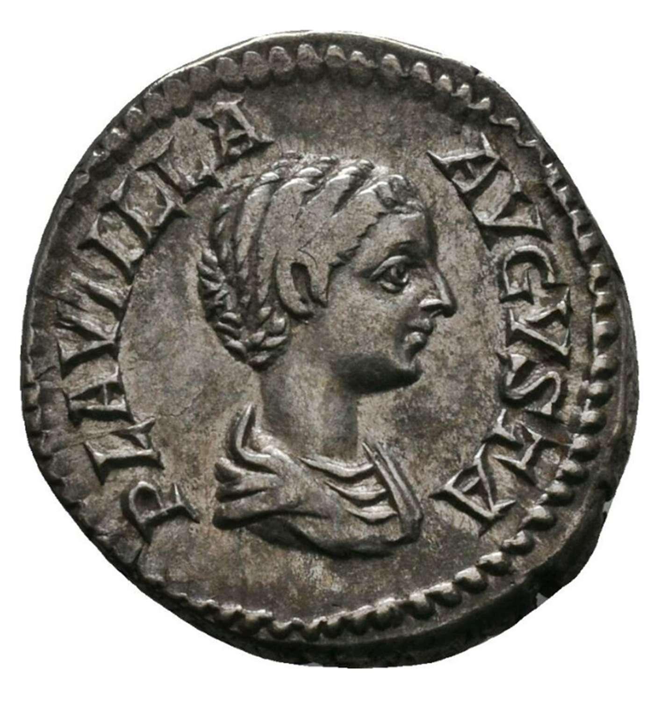 Ancient Roman silver denarius of empress Plautilla / Concordia