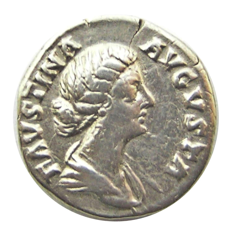 Ancient Roman silver denarius of empress Faustina II / feminine virtue