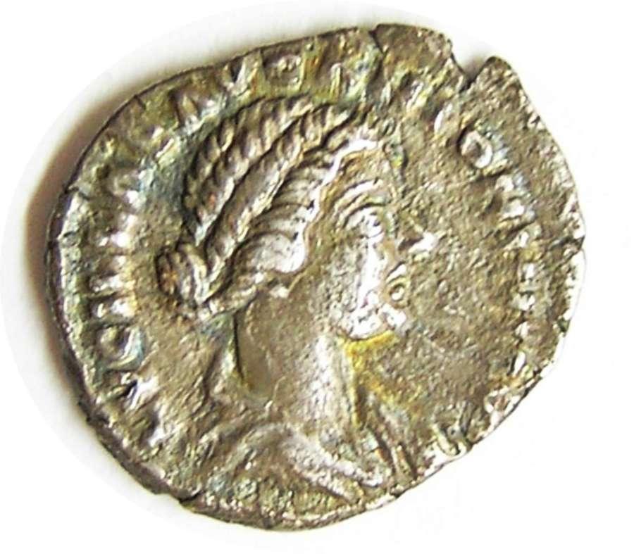 Ancient Roman silver denarius of empress Lucilla / Vesta