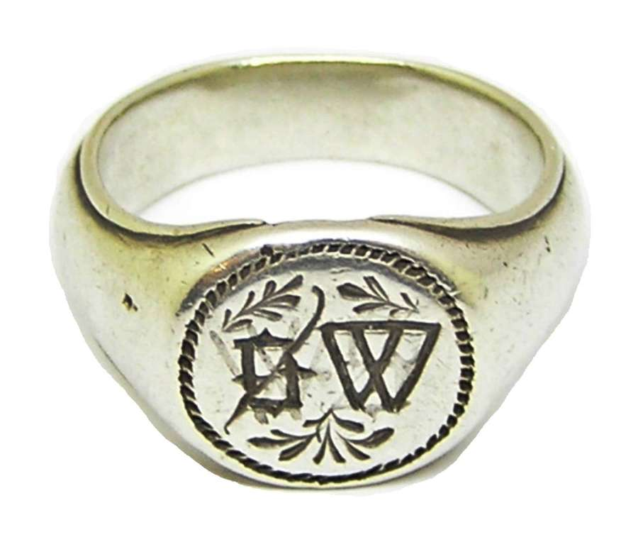 Medieval silver signet ring