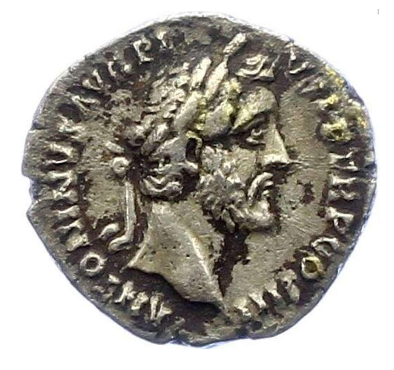 Ancient Roman Silver Denarius of Emperor Antoninus Pius / Modius
