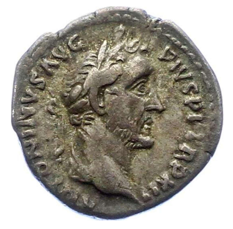 Ancient Roman Silver Denarius of Emperor Antoninus Pius / Salus