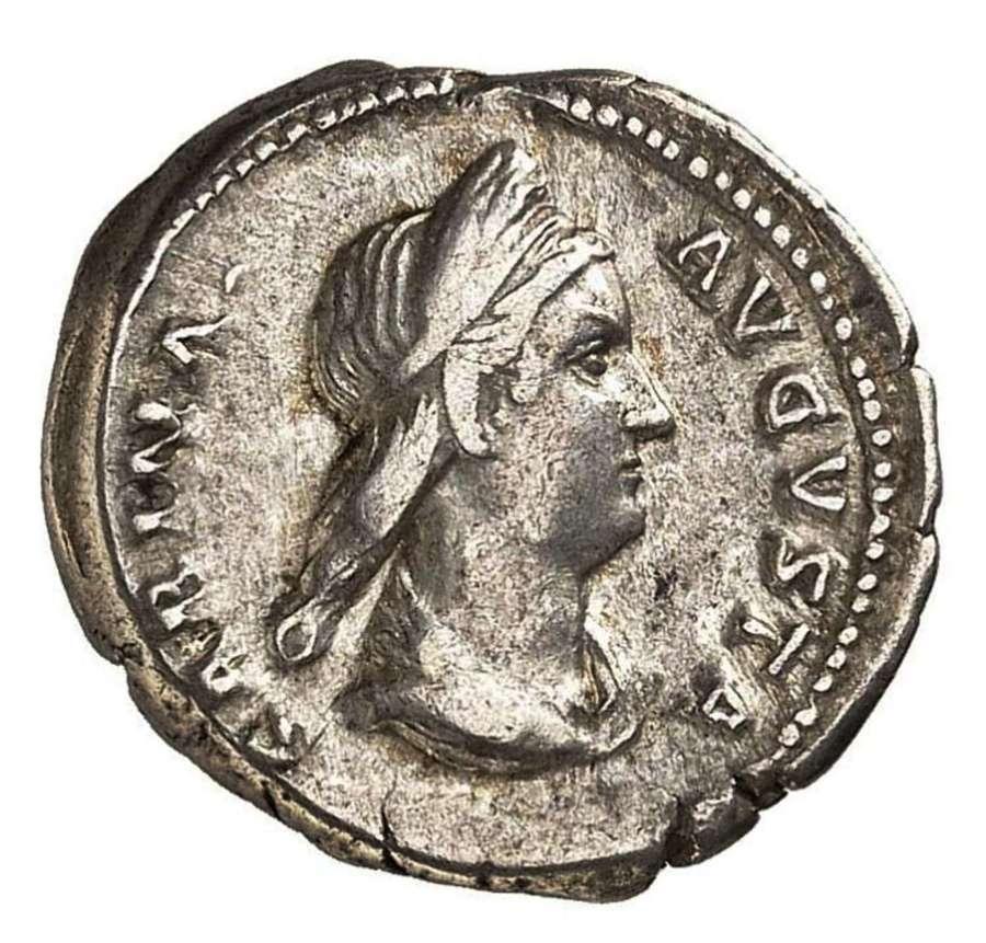 Ancient Roman silver denarius of empress Sabina