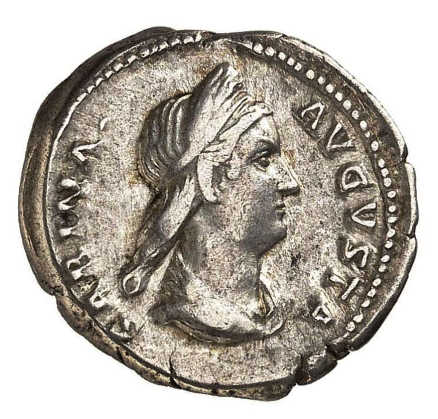 Ancient Roman silver denarius of empress Sabina