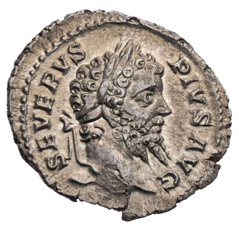 Ancient Roman silver denarius of emperor Septimus Severus / Victory