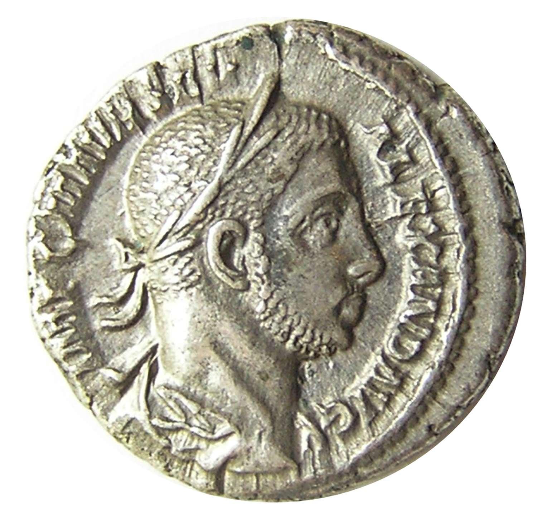Ancient Roman Silver Denarius of Emperor Severus Alexander / Anonna