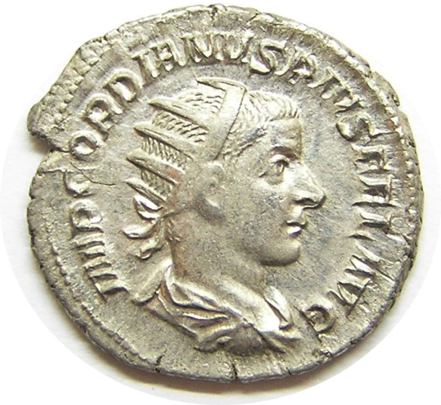 Ancient Roman silver Antoninianus of emperor Gordian III / Laetitia