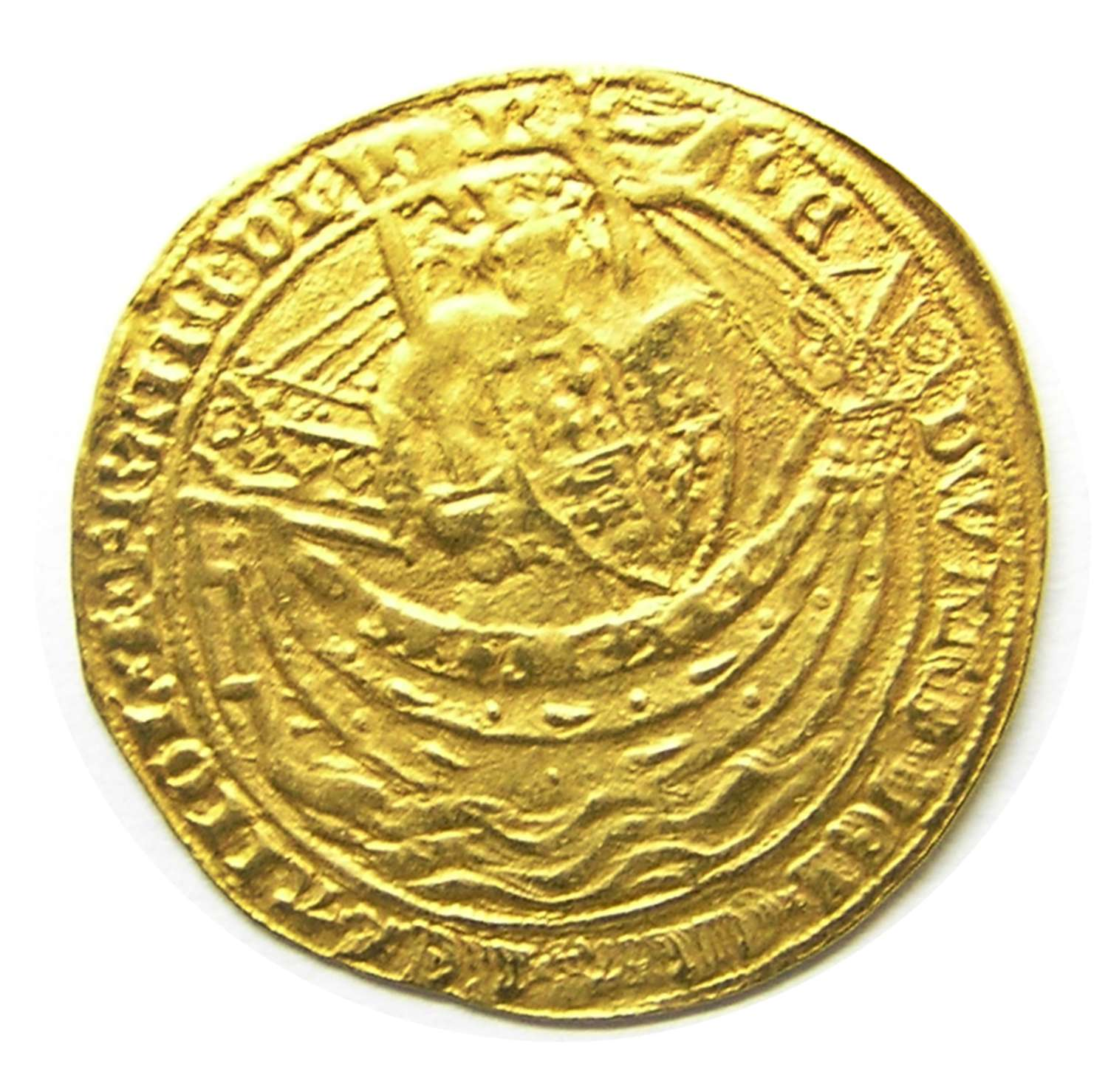 Medieval gold Noble of king Edward III London Series G