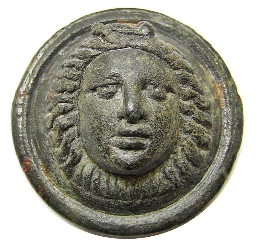 Ancient Roman military phalera gorgoneion facing bust of Medusa