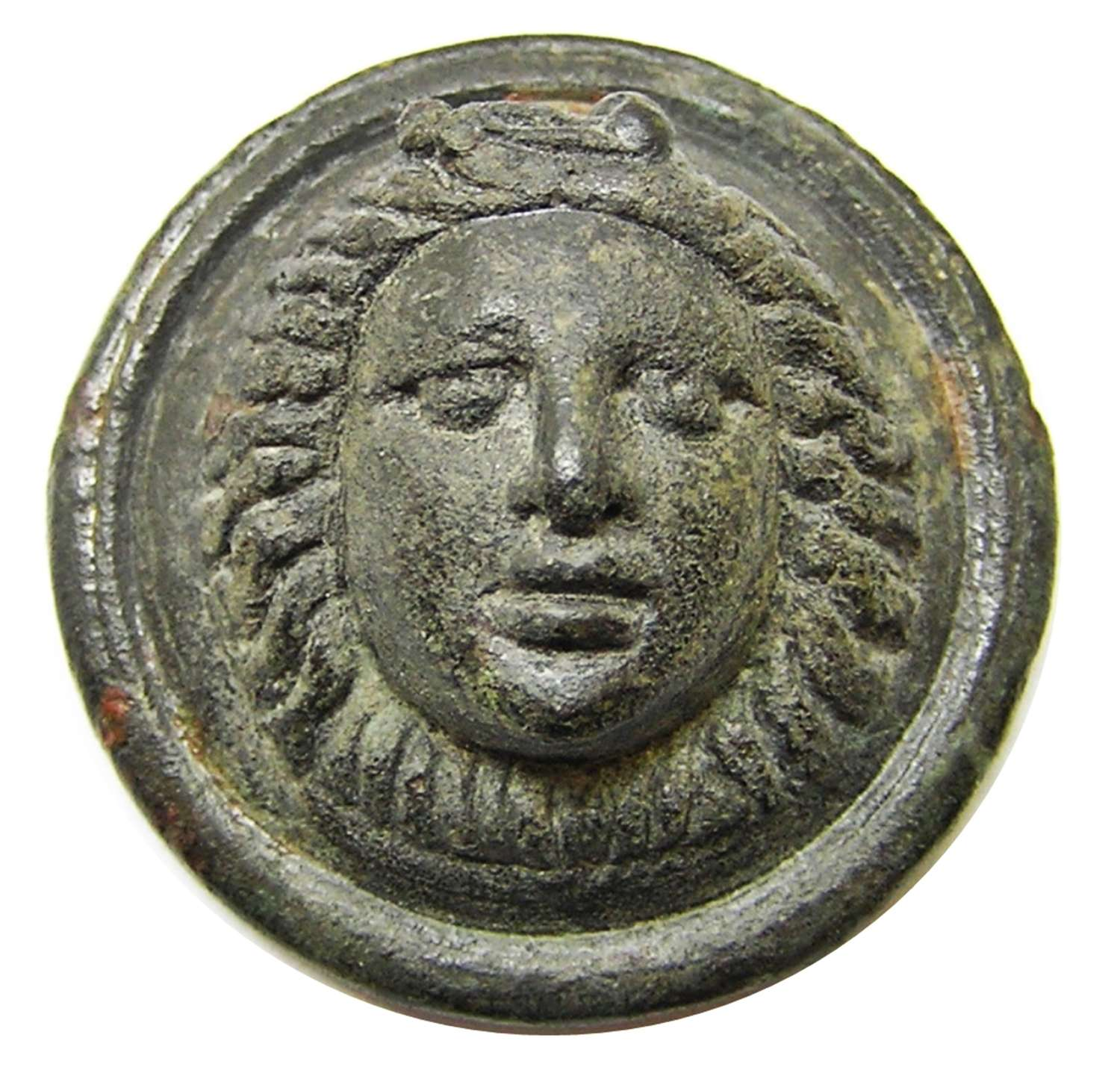 Ancient Roman military phalera gorgoneion facing bust of Medusa