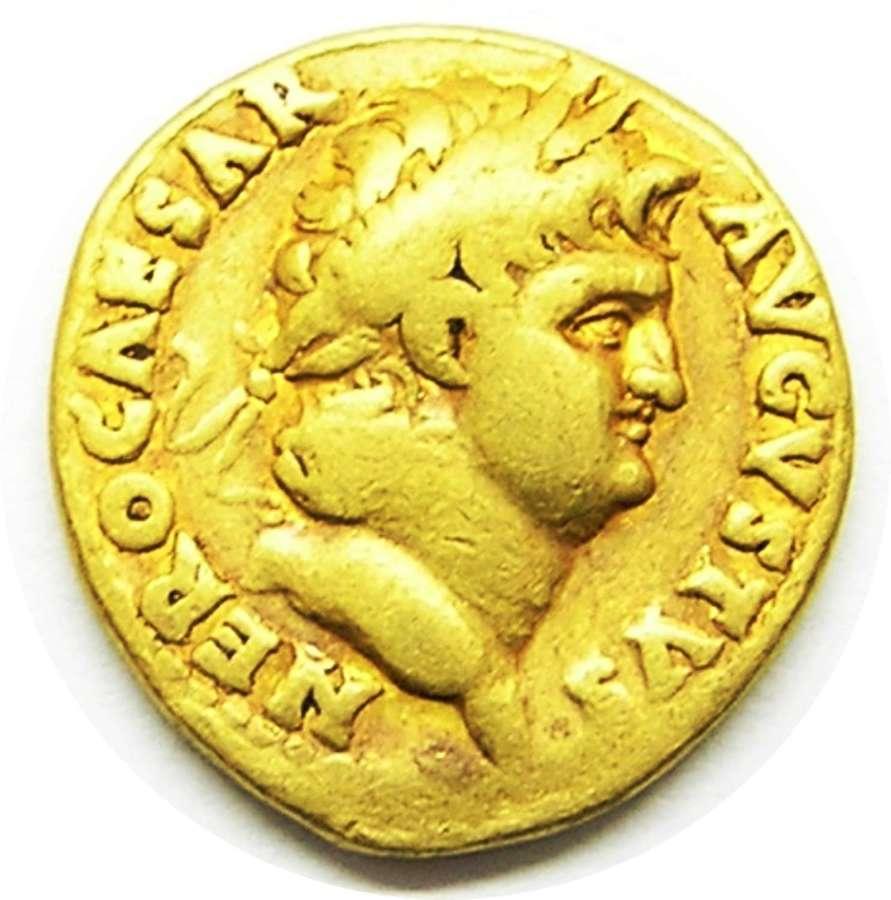 Ancient Roman gold aureus of emperor Nero / Jupiter the Guardian