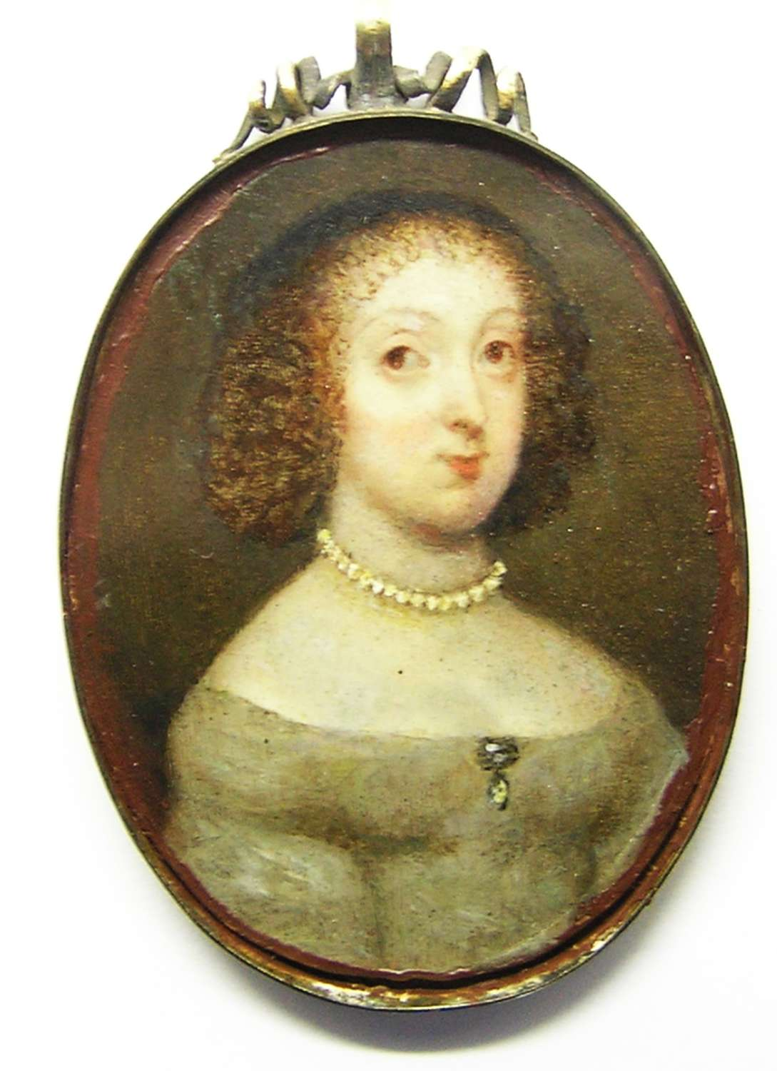 Framed Baroque portrait miniature of a lady
