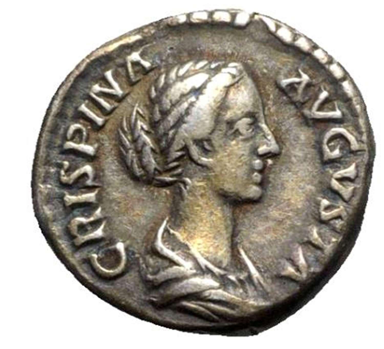 Ancient Roman silver denarius of empress Crispina / Venus