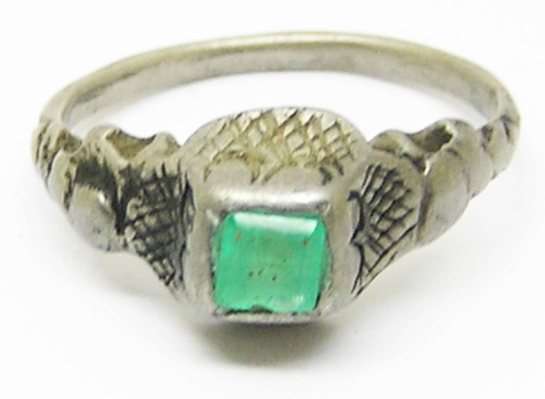 Tudor / Renaissance silver emerald finger ring