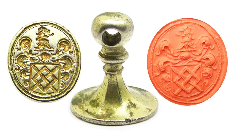 Tudor - Stuart silver gilt armorial fob seal of Baron Harington
