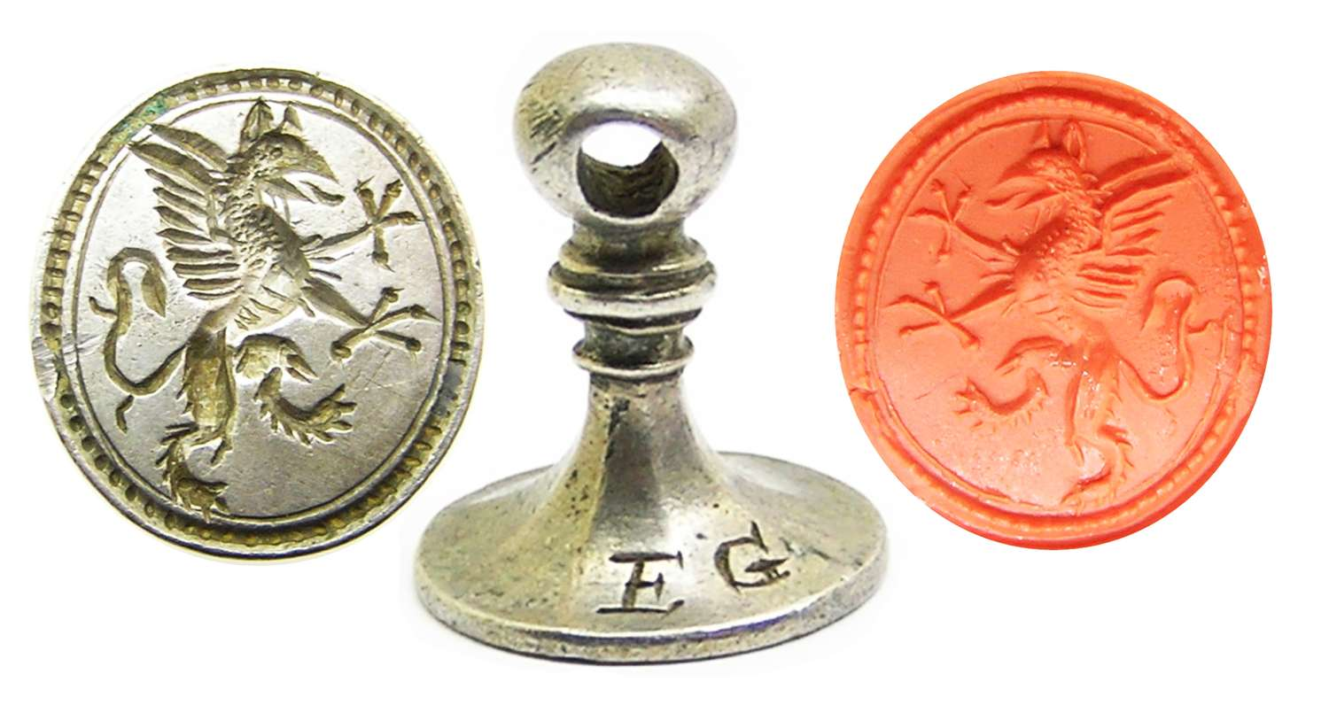 Jacobean silver seal matrice of a Griffin E.G. owners initials
