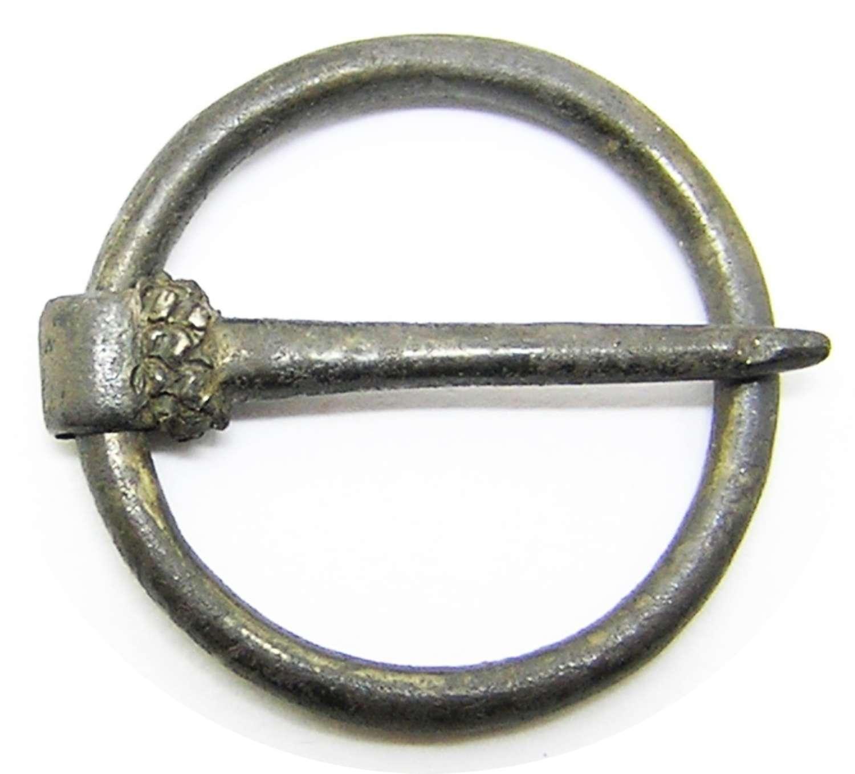 Medieval Silver Ring Brooch