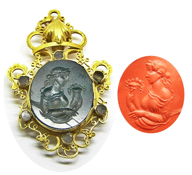 Renaissance Revival agate intaglio of Fortuna in 18k gold pendant