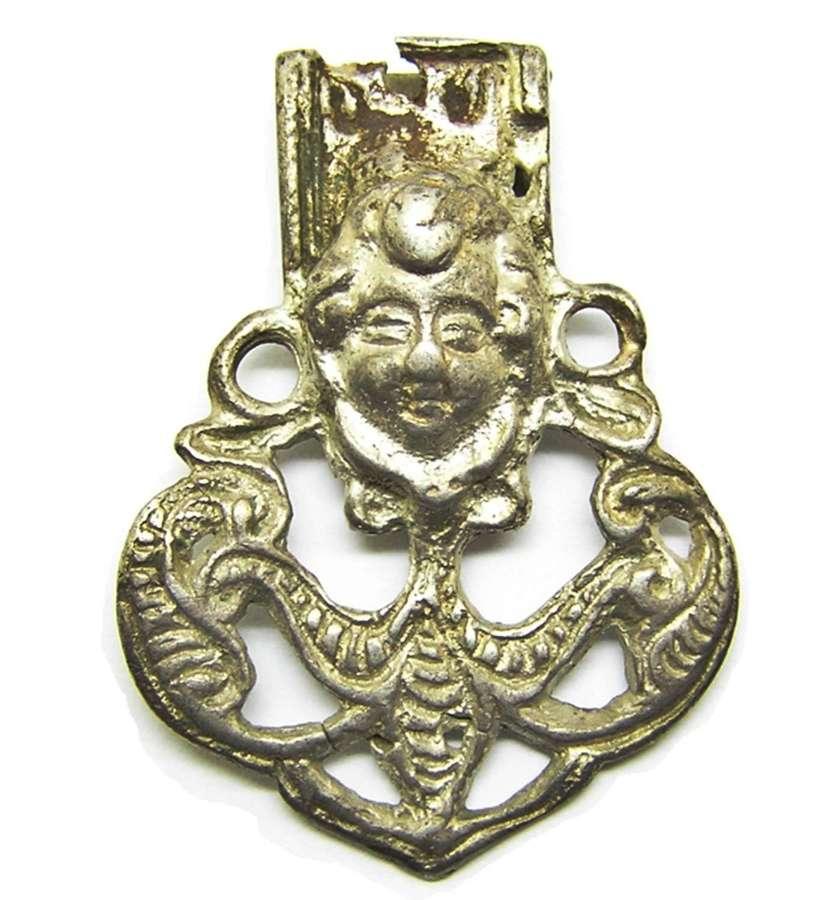 Tudor / Renaissance silver strap end cherub