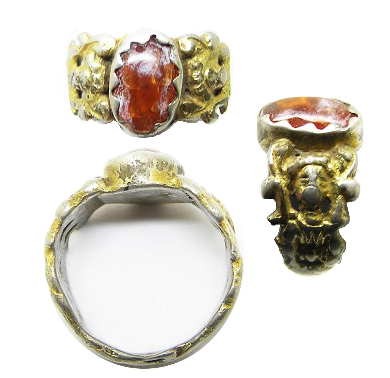 Tudor / Renaissance silver-gilt & amber figural ring