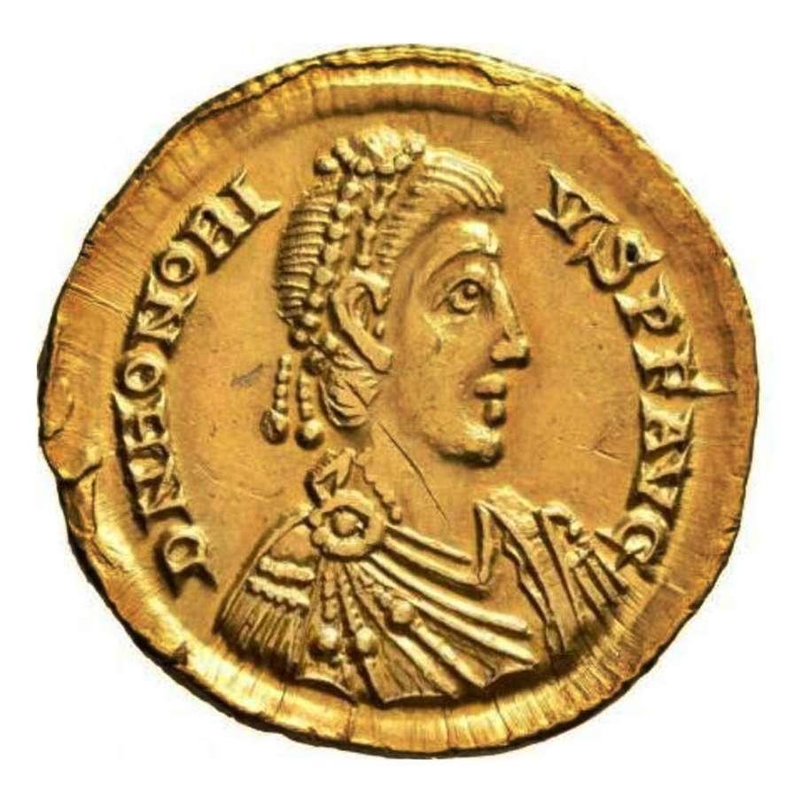 Roman gold solidus of emperor Honorius / Rome