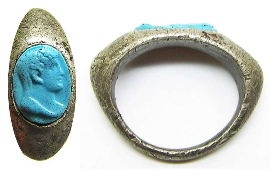 Roman silver cameo ring Augustus Turquoise Glass