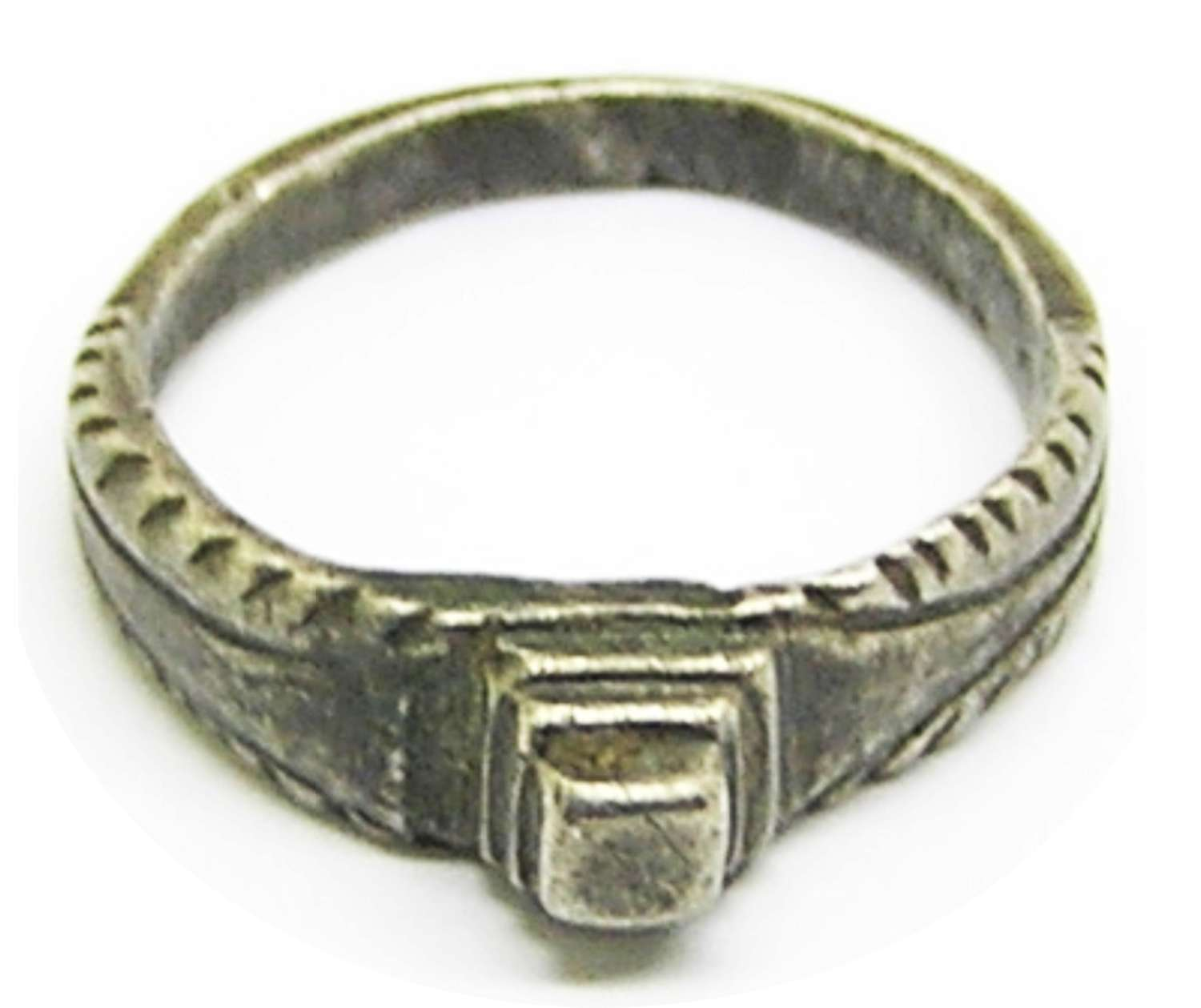 Medieval silver stirrup sing with a raised diamond bezel