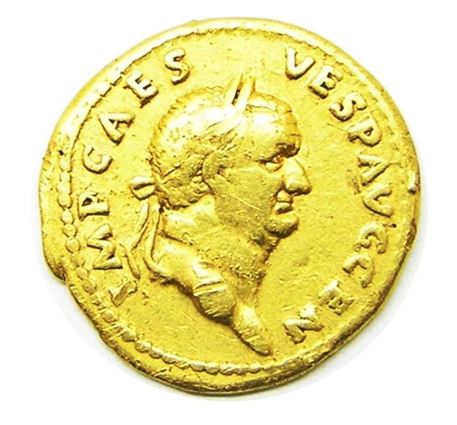 Ancient Roman gold aureus of emperor Vespasian / Peace