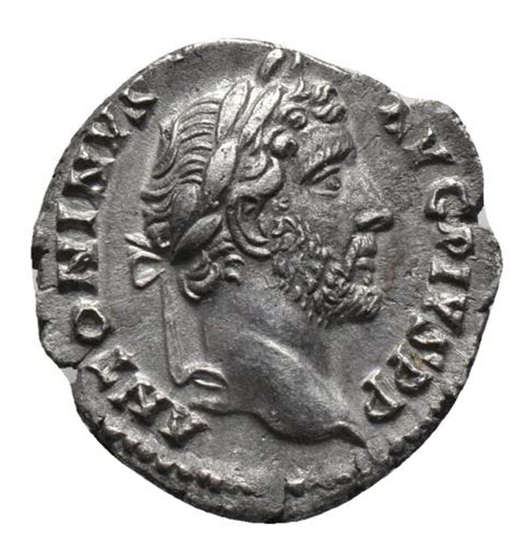 Ancient Roman Silver Denarius of Emperor Antoninus Pius / Thunderbolt