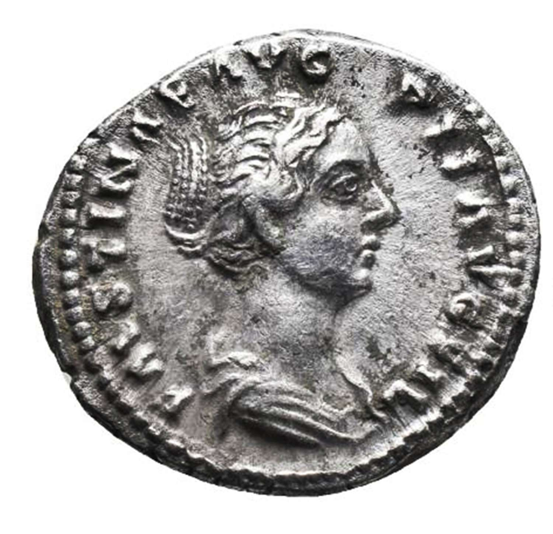 Ancient Roman silver denarius of empress Faustina II / Purity