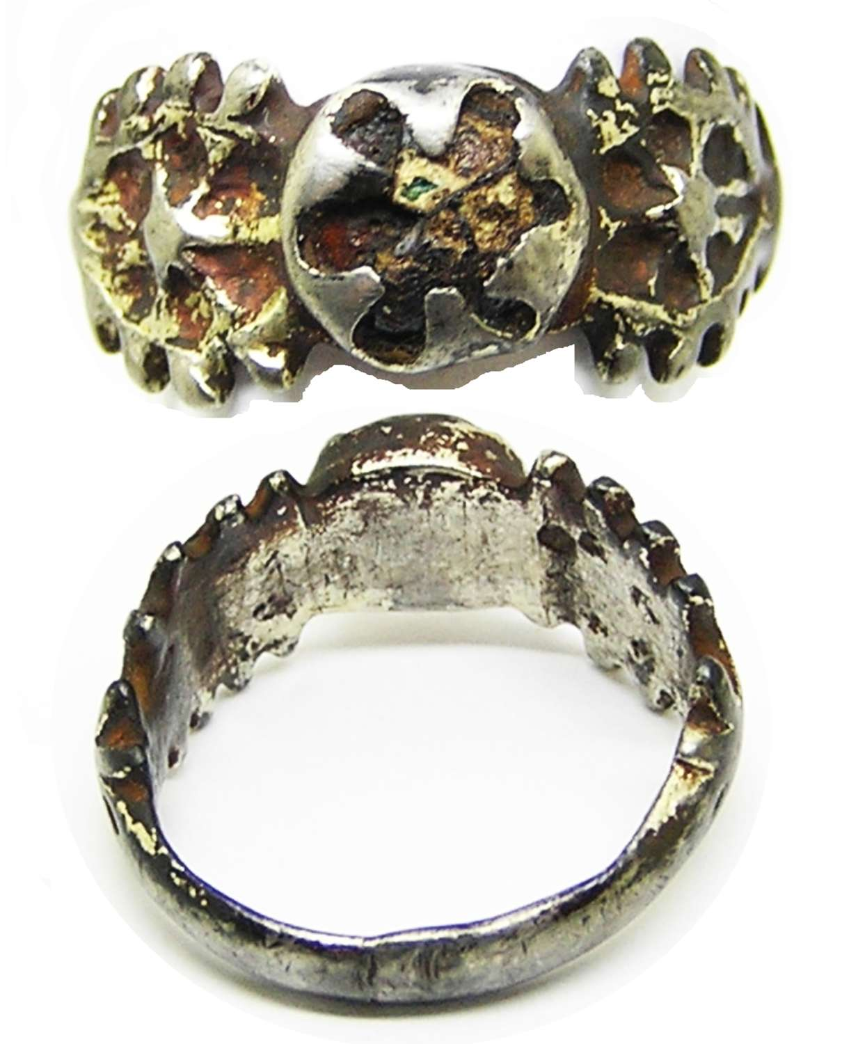 Renaissance Tudor period silver-gilt and enamel finger ring
