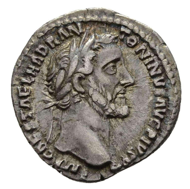 Ancient Roman Silver Denarius of Emperor Antoninus Pius / Piety