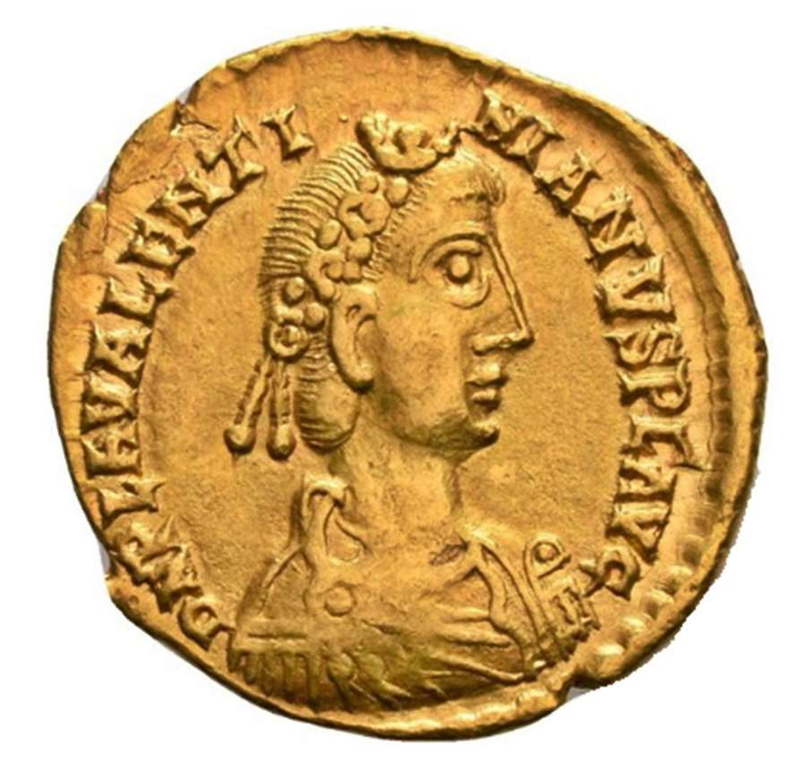 Late Roman Gold Solidus of Emperor Valentinian III Rome Mint