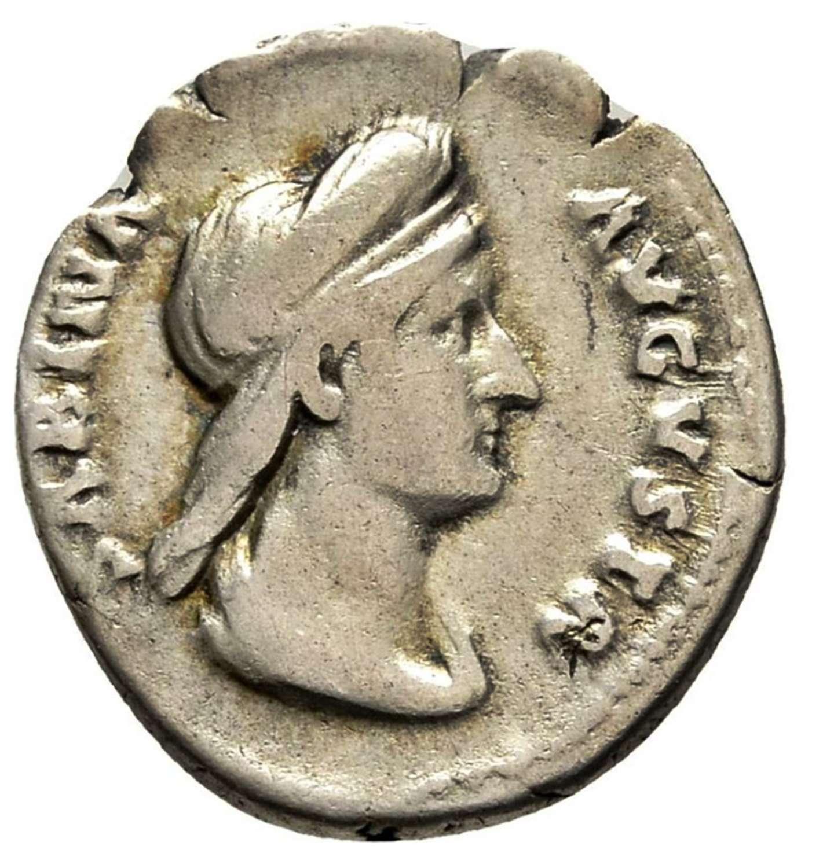 Ancient Roman silver denarius of empress Sabina / Juno