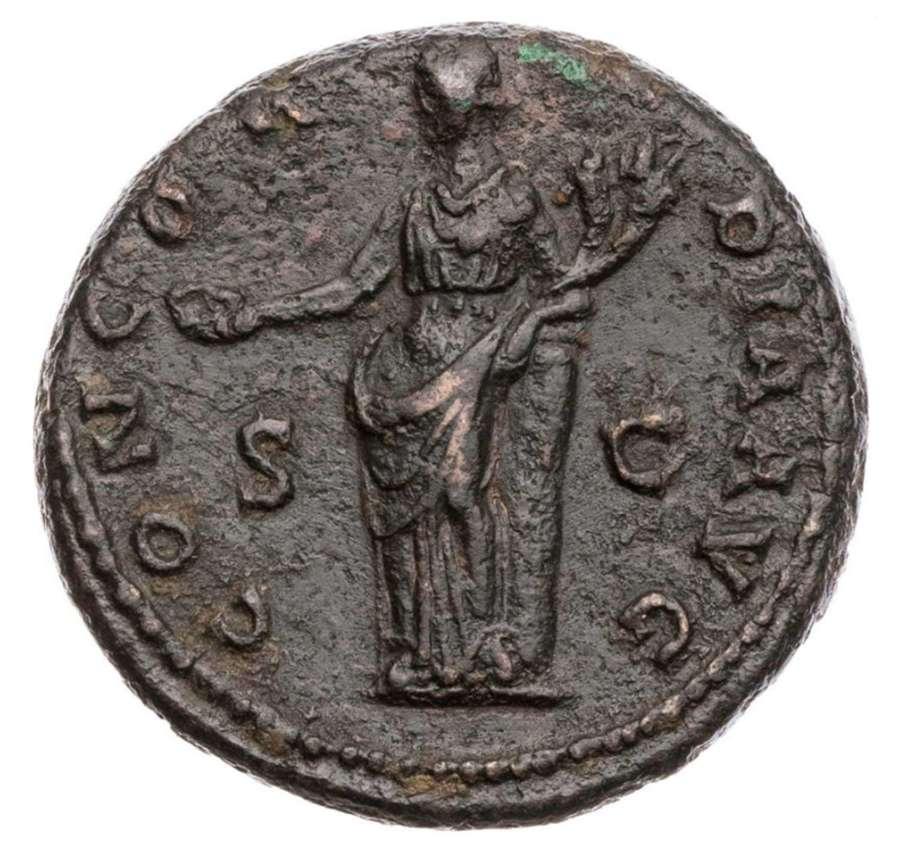 Ancient Roman AE As of Empress Sabina / Harmony