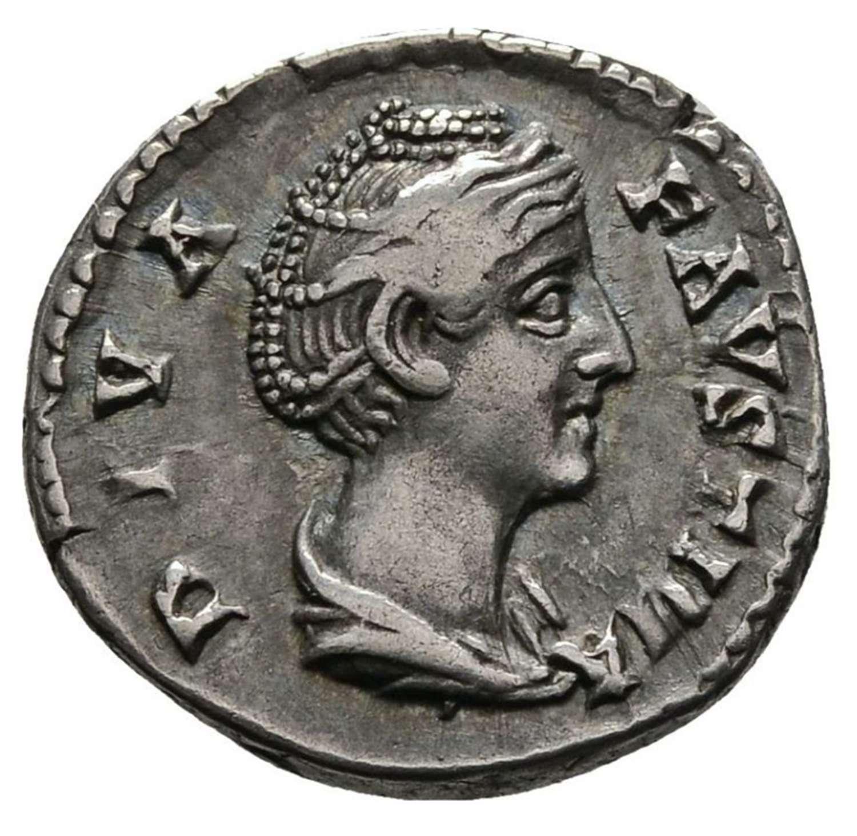 Ancient Roman silver denarius of the Divine Faustina / Eternity