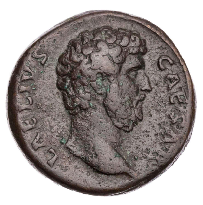Ancient Roman copper AS of Aelius Caesar / Hope