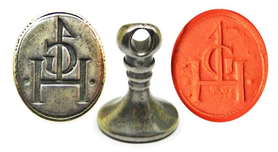 Elizabethan silver seal matrice merchant mark GH
