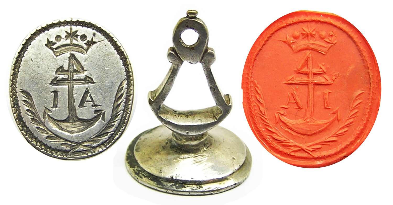 Baroque silver fob seal Captain/Merchant initials A.I.